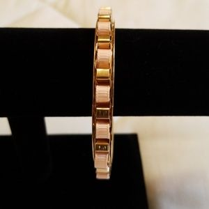 Jewelry - Gold Tone Pink Ribbon Bangle Bracelet